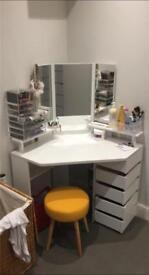 White Corner Dressing Table with large mirror, 5 x fold our drawers and yellow stool