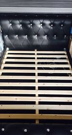 Black Leather Studded King Size Bed Frame