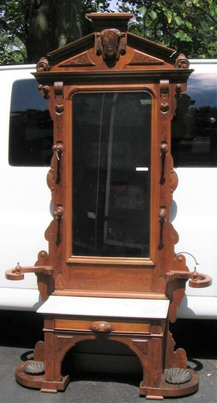 OUTSTANDING ANTIQUE VICTORIAN WALNUT HALL TREE-GREAT CARVINGS-SHELL IRON PANS