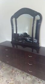 Dark Wooden Mirror and Chest of Drawers with Gold Handles - Used