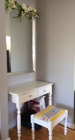 Beautiful white dresser table and stool