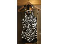 Bay trading ladies black & white evening halter-neck top with colourful beaded neckline £5 size 8