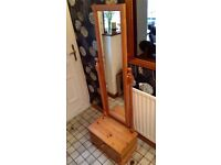 Pine Dressing Mirror with Draw