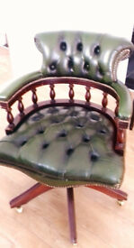 Captain's Chair Iconic Olive Green Leather.... Brass Casters Bargain Price !