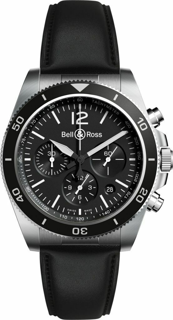 BELL & ROSS BR V3-94 BLACK STEEL Watch Vintage collection CHRONO + BR Leather - watch picture 1