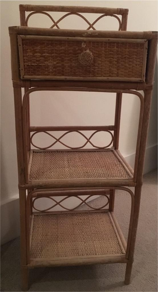 Small vintage retro genuine rattan shelves/drawers/display stand