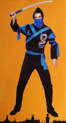 Mens Dragon Warrior Blue NINJA Samurai Halloween Costume Big & Tall 2X XXL NEW