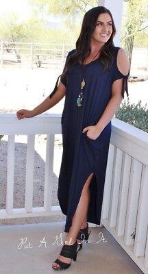 PLUS SIZE NAVY BLUE BOW TIE COLD SHOULDER LOOSE MAXI DRESS POCKETS 1X 2X 3X USA ()