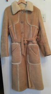 Oakville Womens Sheepskin Shearling Coat Long 12 Large Brown Winter Jacket Really Warm Made in Canada Leather Attic