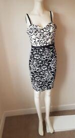 Lipsy Black/White Lace Strapless Dress