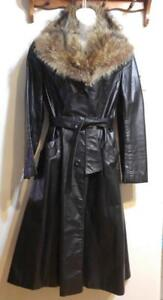 OAKVILLE Womens 4 - 6 SMALL Retro Black Leather Long Coat Vintage Vtg Skinny Jacket Cowhide Sexy REAL FUR COLLAR Brown