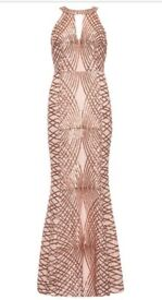 Rose Gold Sequin and Mesh Fishtail Maxi Dress