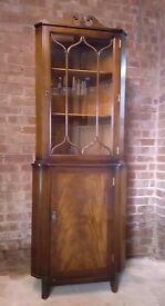 Mahogagany Corner Unit, leaded glass cabinet with lower storage cupboard