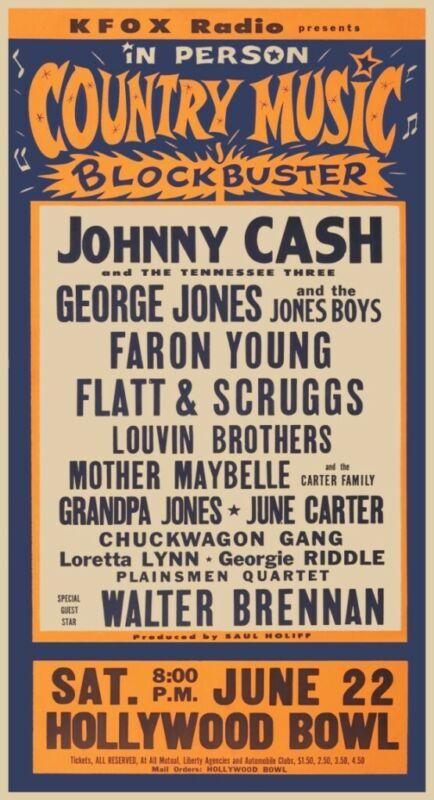Johnny Cash Show POSTER George Jones  *LARGE*  Loretta Lynn LIVE *RARE IMAGE*