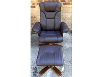 Brand New Julian Bowen swivel/recliner Dk Brn chair and foots