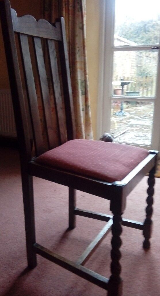 4 CIRCA 1920 VINTAGE SOLID WOOD BARLEY TWIST LEG DINING CHAIRS WITH  UPHOLSTERED SEATS