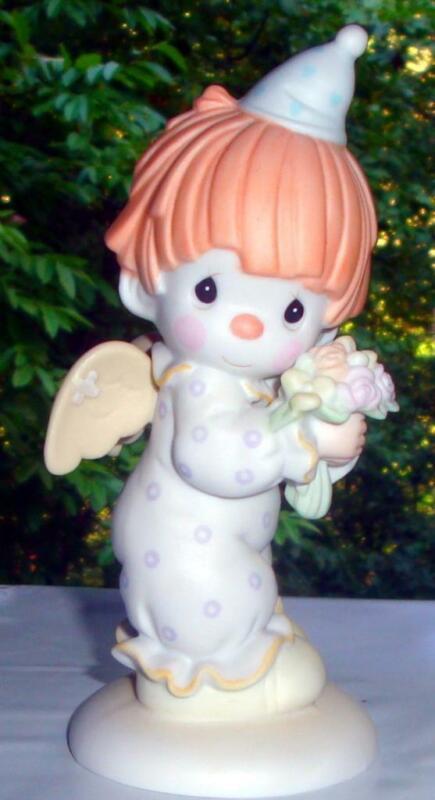 HAPPINESS DIVINE~ANGEL CLOWN w/ FLOWERS~109584 Clown Ss 1987 Precious Moments