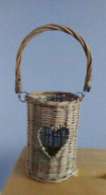 Wicker Heart Glass Candle Holder £5
