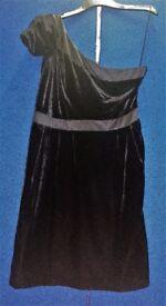 OASIS Black Velvet & Satin One Shoulder Party/Occasion Dress Size 16 - BNWOT