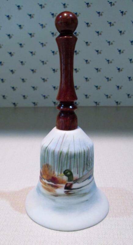 Vintage ND Originasl by Joyce Hand Painted Mallard Duck Bell Signed Wood Handle