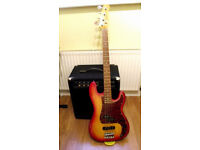 Bass Guitar - PJ custom type in good condition.