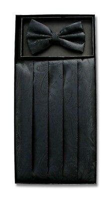 Cumberbund & BowTie Solid BLACK PAISLEY Color Men's Cummerbund Bow Tie Set - Paisley Mens Cummerbund