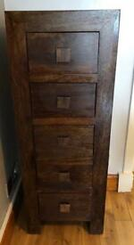 2x solid mango wood tall drawer unit & tv unit