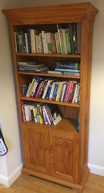 Solid wood bookshelf with cabinet space