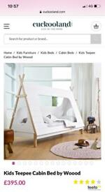 Kids Single Teepee Bed with Washable Memory Foam Mattress