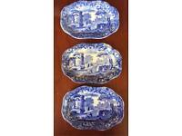 3 Rare Miniature Oval Fluted Copeland Blue Italian Porcelain Plates / Trays