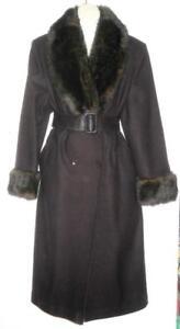 NEW Vintage RETRO STYLE Super-Long Wool Coat / FAUX FUR Cuffs Collar / DARK Brown FREE BELT / LOOSE FIT WIDE WAIST BABY