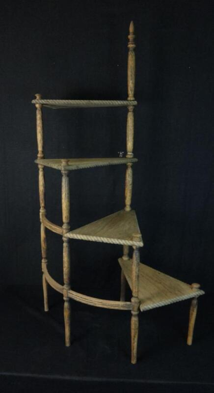 Antique Decorative Wooden Spiral Steps Plant Stand Nice!