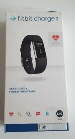 Brand New Fitbit Charge 2 Black, Large HR Heart Rate Fitness Wristband Fully Boxed