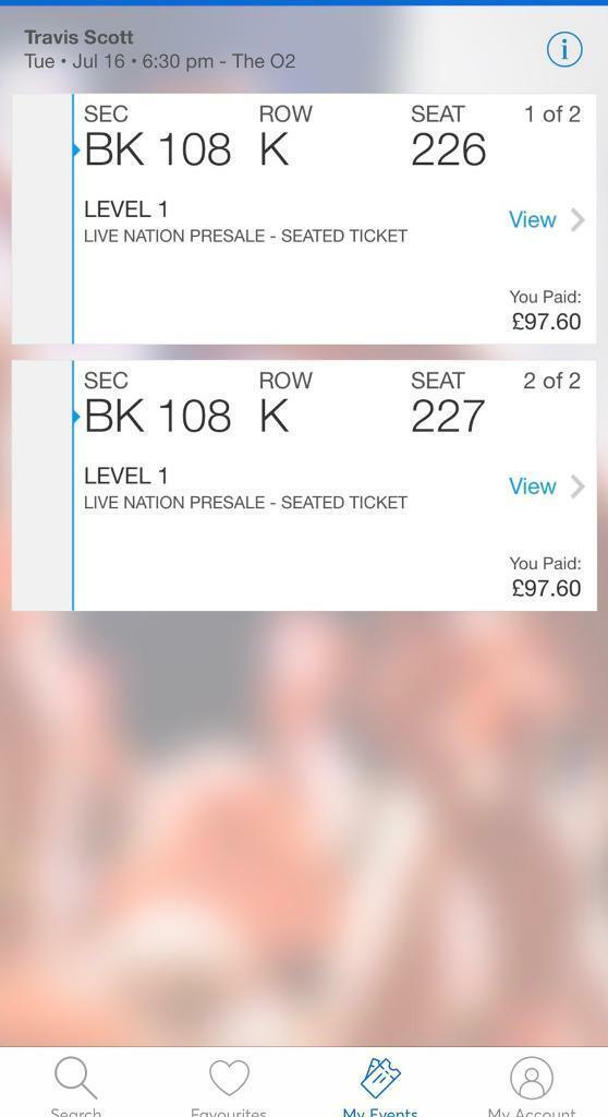 492866597262 2x Travis Scott London O2 Tickets - 16th Jul Block 108   in East ...