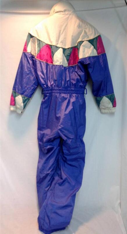Fera Women's Snow Ski Suit Vintage Blue White Pink Sz 6 Used Good Condition