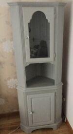 Ducal Pine Corner Display Cabinet - Paris Grey