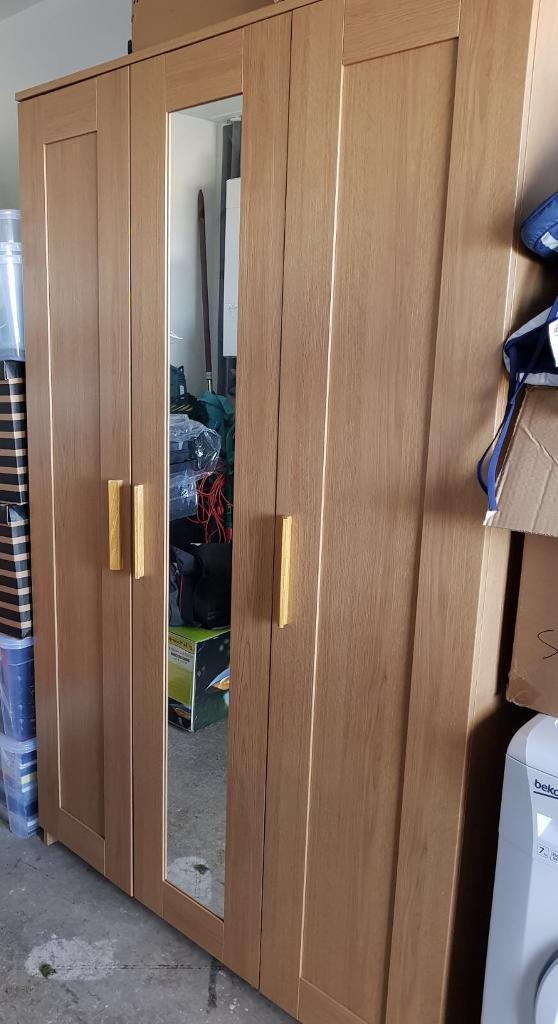 ikea brimnes 3 door oak effect wardrobe in cambuslang glasgow gumtree. Black Bedroom Furniture Sets. Home Design Ideas