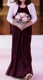 Children's handmade aubergine coloured bridesmaid/party dresses with tailored white Boleros.