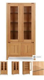 Marks And Spencers Light Oak Sonama glass cabinet