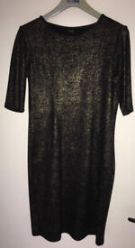 Black/gold dress, size 12, brand new with tags. Great party dress.