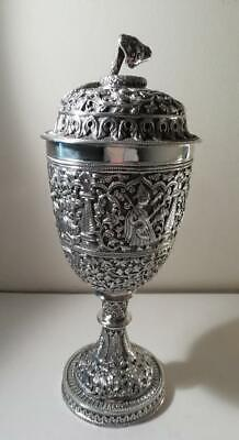 A Large Exquisite Indian Silver Cup w. 5 Hindu Gods & Cobra Finial : Kutch c1870