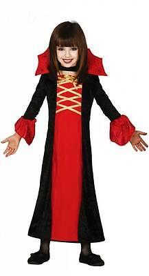 Lady-Dracula Vampirkleid für Kinder mit Kragen - elegantes Vampir - Lady Dracula Kostüm