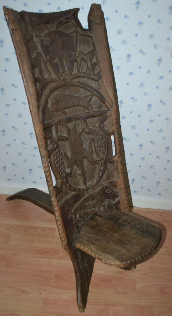 Genuine Antique Hard Wood African Birthing Chair Stool Hand Carved Carving  Art - Genuine Antique Hard Wood African Birthing Chair Stool Hand Carved