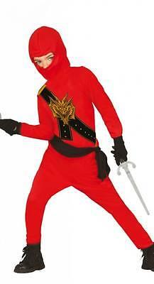 Ninja Kostüm für Kinder schwarz-rot mit Dragon-Print - Ninja Kostüm 85708-85710 (Dragon Kostüm Kinder)