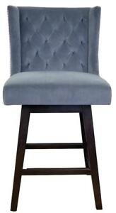 Smoke Grey or Slate Green Velvet Fabric Swivel Counter Stool w/Brushed Silver Nailhead