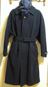 Mens 44R LUXADOR Malta Long Wool Overcoat & Christian Dior Silk Wool Rev Scarf Navy Blue Large L Mans Winter Jacket Coat