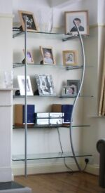 Glass and steel wall mounted shelves by Purves & Purves