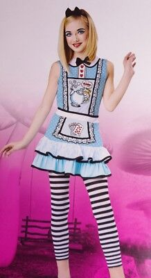 Girls Alice in Wonderland Halloween Costume Dress Outfit M 8 10 Large 10 12 NEW - Alice In Wonderland Halloween Outfit