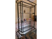 Wrought Iron Glass Top Dining Table with Six Chairs and matching Show case