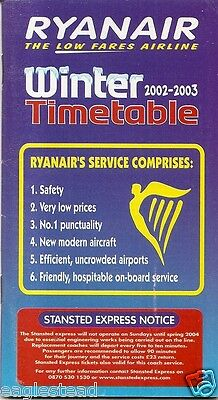 Airline Timetable   Ryanair   Winter 2002 03   S